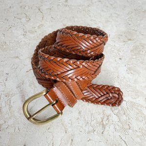Fossil Brown Woven Leather Belt M Brass Buckle